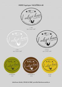 Valsjöbuas logo i olika varianter