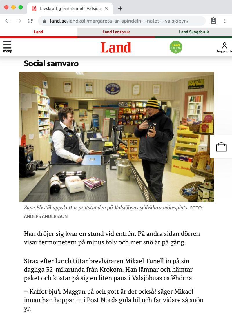 Maggan Andersson och Sune Elvstål i tidningen Land februari 2018