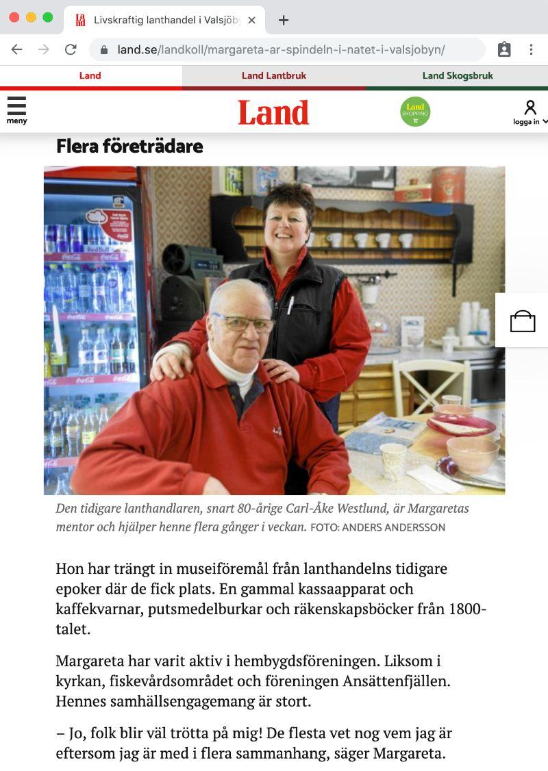Maggan Andersson och Carl-Åke Westlund i tidningen Land februari 2018