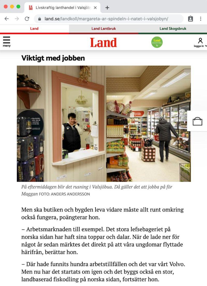 Valsjöbua Lanthandel i tidningen Land februari 2018