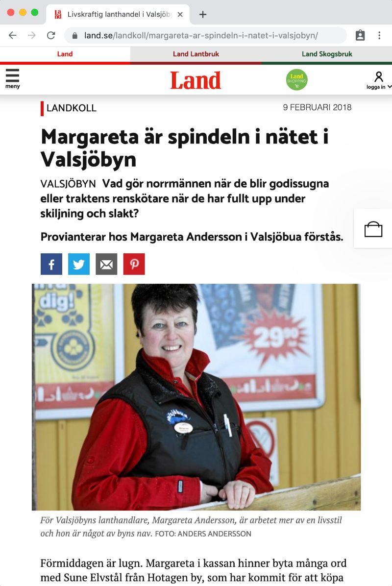 Maggan Andersson och Valsjöbua Lanthandel i tidningen Land februari 2018