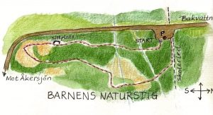 Barnens Naturstig ledkarta. Illustration Rut Magnusson.