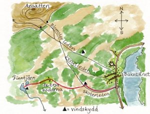 Finntjärnleden ledkarta. Illustration Rut Magnusson.
